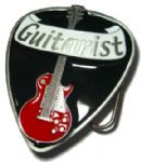 Electric Guitarist Belt Buckle + display stand